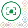 Camera memory card flat icons with outlines - Camera memory card flat color icons in round outlines on white background