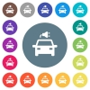 Electric car with connector flat white icons on round color backgrounds. 17 background color variations are included. - Electric car with connector flat white icons on round color backgrounds