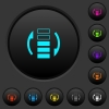 Refresh rate dark push buttons with color icons - Refresh rate dark push buttons with vivid color icons on dark grey background