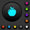 Apple dark push buttons with color icons - Apple dark push buttons with vivid color icons on dark grey background