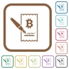 Signing Bitcoin cheque simple icons - Signing Bitcoin cheque simple icons in color rounded square frames on white background