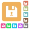 Upload file flat icons on rounded square vivid color backgrounds. - Upload file rounded square flat icons