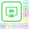 Print screen vivid colored flat icons - Print screen vivid colored flat icons in curved borders on white background