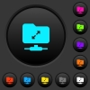 FTP uncompress dark push buttons with color icons - FTP uncompress dark push buttons with vivid color icons on dark grey background