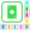 Three of spades card vivid colored flat icons - Three of spades card vivid colored flat icons in curved borders on white background