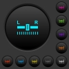 Audio balance control dark push buttons with color icons - Audio balance control dark push buttons with vivid color icons on dark grey background