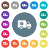 Fast delivery truck flat white icons on round color backgrounds - Fast delivery truck flat white icons on round color backgrounds. 17 background color variations are included.