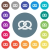 Salted pretzel flat white icons on round color backgrounds - Salted pretzel flat white icons on round color backgrounds. 17 background color variations are included.
