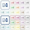 Mobile payment outlined flat color icons - Mobile payment color flat icons in rounded square frames. Thin and thick versions included.