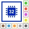 Microprocessor 32 bit architecture flat framed icons - Microprocessor 32 bit architecture flat color icons in square frames on white background