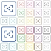 Camera share image outlined flat color icons - Camera share image color flat icons in rounded square frames. Thin and thick versions included.