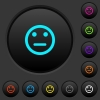 Neutral emoticon dark push buttons with vivid color icons on dark grey background - Neutral emoticon dark push buttons with color icons