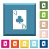 Queen of clubs card white icons on edged square buttons - Queen of clubs card white icons on edged square buttons in various trendy colors