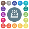 Birthday cake flat white icons on round color backgrounds - Birthday cake flat white icons on round color backgrounds. 17 background color variations are included.