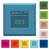 Browser 503 Service Unavailable engraved icons on edged square buttons - Browser 503 Service Unavailable engraved icons on edged square buttons in various trendy colors