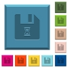 File waiting engraved icons on edged square buttons in various trendy colors - File waiting engraved icons on edged square buttons