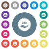 24h service sticker flat white icons on round color backgrounds - 24h service sticker flat white icons on round color backgrounds. 17 background color variations are included.