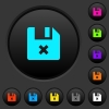 Cancel file dark push buttons with color icons - Cancel file dark push buttons with vivid color icons on dark grey background