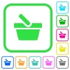 Shopping basket vivid colored flat icons - Shopping basket vivid colored flat icons in curved borders on white background