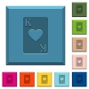 King of hearts card engraved icons on edged square buttons - King of hearts card engraved icons on edged square buttons in various trendy colors