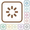 Loader symbol simple icons in color rounded square frames on white background - Loader symbol simple icons