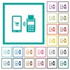 Mobile payment flat color icons with quadrant frames - Mobile payment flat color icons with quadrant frames on white background