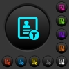 Contact filter dark push buttons with color icons - Contact filter dark push buttons with vivid color icons on dark grey background