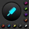 Ice lolly dark push buttons with color icons - Ice lolly dark push buttons with vivid color icons on dark grey background