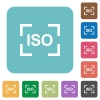 Camera iso speed setting rounded square flat icons - Camera iso speed setting white flat icons on color rounded square backgrounds