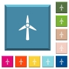 Wind turbine white icons on edged square buttons in various trendy colors - Wind turbine white icons on edged square buttons