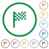 Race flag flat icons with outlines - Race flag flat color icons in round outlines on white background