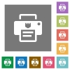 IP printer flat icons on simple color square backgrounds - IP printer square flat icons