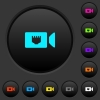 IP camera dark push buttons with color icons - IP camera dark push buttons with vivid color icons on dark grey background