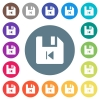 File previous flat white icons on round color backgrounds - File previous flat white icons on round color backgrounds. 17 background color variations are included.