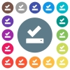 Successfully saved flat white icons on round color backgrounds - Successfully saved flat white icons on round color backgrounds. 17 background color variations are included.