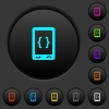 Mobile software development dark push buttons with color icons - Mobile software development dark push buttons with vivid color icons on dark grey background
