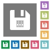 Archive file square flat icons - Archive file flat icons on simple color square backgrounds