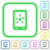 Mobile social networking vivid colored flat icons - Mobile social networking vivid colored flat icons in curved borders on white background