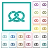 Salted pretzel flat color icons with quadrant frames - Salted pretzel flat color icons with quadrant frames on white background