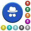 Incognito with glasses beveled buttons - Incognito with glasses round color beveled buttons with smooth surfaces and flat white icons