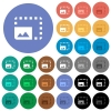 Enlarge photo round flat multi colored icons - Enlarge photo multi colored flat icons on round backgrounds. Included white, light and dark icon variations for hover and active status effects, and bonus shades on black backgounds.