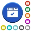 Browser ok round color beveled buttons with smooth surfaces and flat white icons - Browser ok beveled buttons