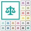 Scale of law flat color icons with quadrant frames on white background - Scale of law flat color icons with quadrant frames
