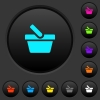 Shopping basket dark push buttons with color icons - Shopping basket dark push buttons with vivid color icons on dark grey background