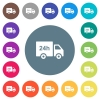 24 hour delivery truck flat white icons on round color backgrounds - 24 hour delivery truck flat white icons on round color backgrounds. 17 background color variations are included.