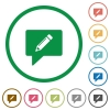 writing comment flat color icons in round outlines on white background - writing comment flat icons with outlines