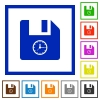File time flat framed icons - File time flat color icons in square frames on white background