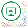 HD display flat color icons in round outlines on white background - HD display flat icons with outlines