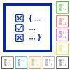 Source code checking flat framed icons - Source code checking flat color icons in square frames on white background