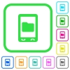Mobile data storage vivid colored flat icons - Mobile data storage vivid colored flat icons in curved borders on white background